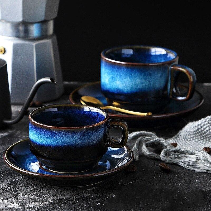 Cerâmica xícara de café e pires conjunto criativo café da manhã xícara de chá da tarde estilo japonês simples retro azul utensílios