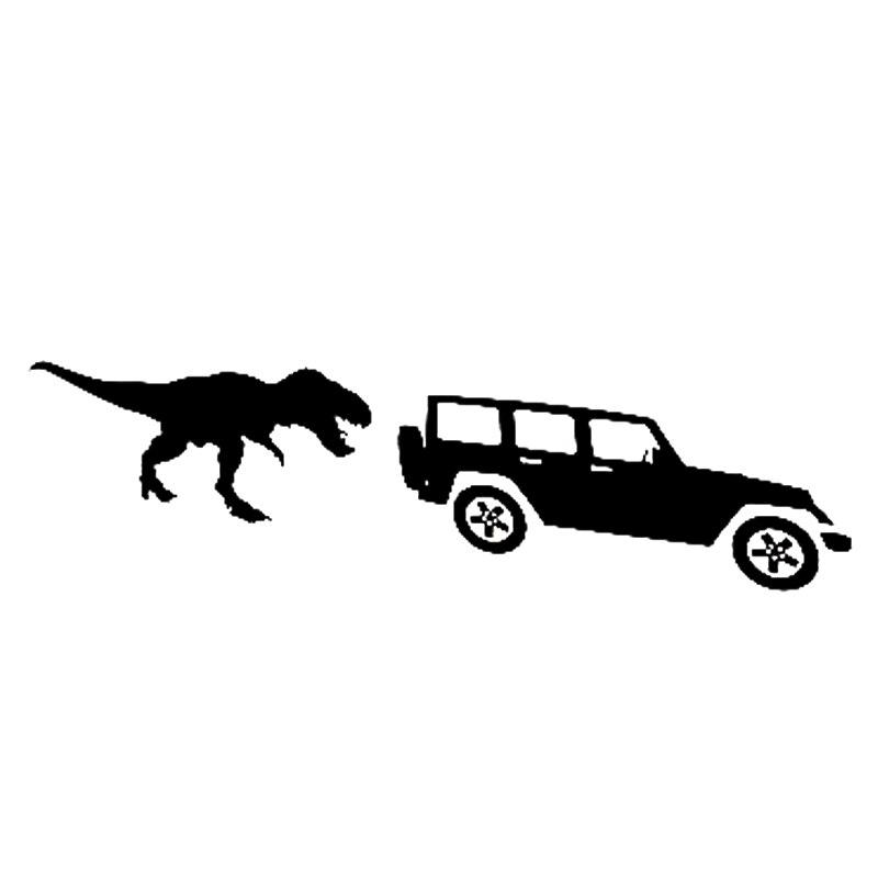 19,4*5cm dinosaurios enormes persiguiendo coches una carrera interesante corredores de maratón motocicleta vinilo decoración pegatinas accesorios para coche Stic
