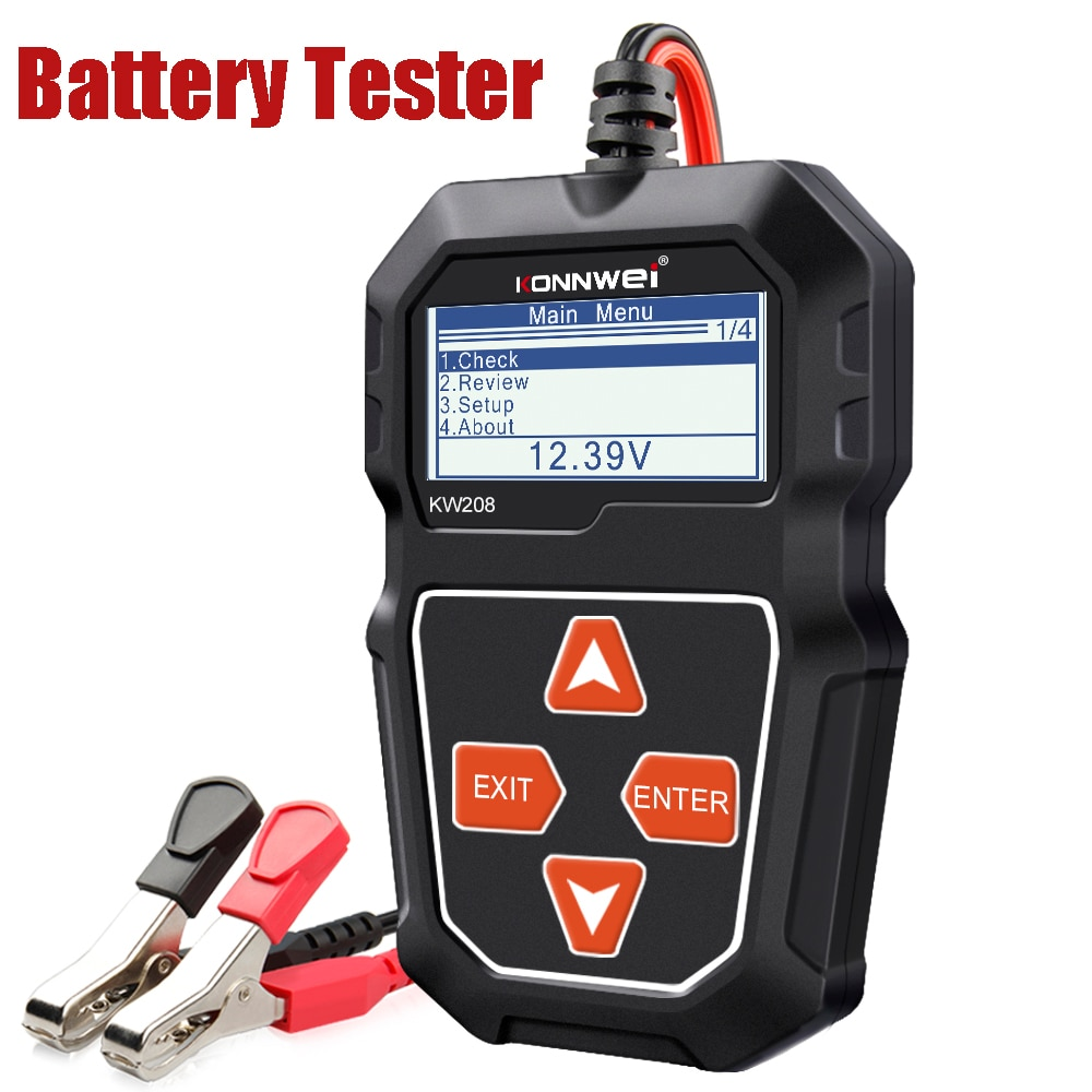 KONNWEI KW208 12V Car Battery Tester Digital Automotive Diagnostic Tester Analyzer Vehicle Cranking Charging Scanner Tools duoyi dy2015 12v car battery system tester capacity maximum electronic load battery cranking charge test digital diagnostic tool