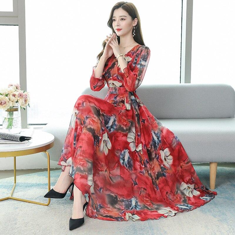 Шифоновое платье с длинными рукавами, Новое Стильное платье на 2021 год, облегающее длинное платье с талией.