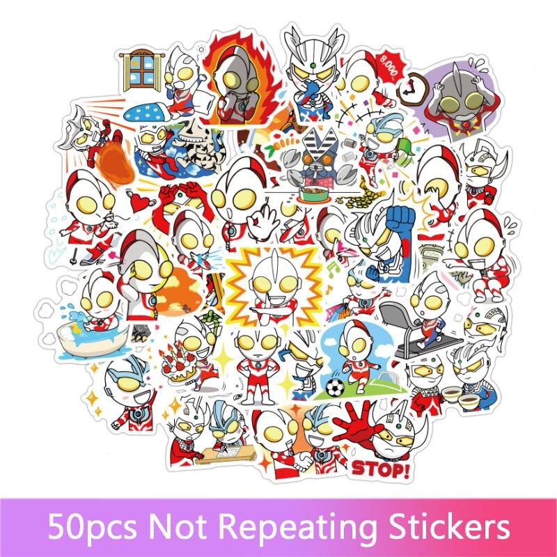 50 шт./компл., японские наклейки граффити Ultraman Dayman, водные Съемные Наклейки на чехлы-тележки, наклейки для блокнотов, автомобильные наклейки, ...