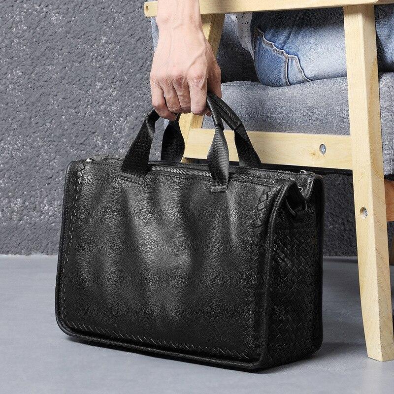 Luxury Sheepskin Handbag Men's Large-capacity Horizontal Briefcase Soft Leather Leisure Travel Bag Business Fashion Bag