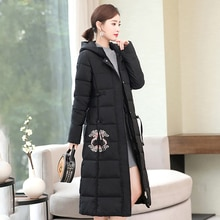 Hooded Long Down Jacket Woman Slim Winter Women Parka Chinese style Printed Jackets Warm Thick Cotto