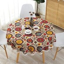 Bohemian ulusal rüzgar yuvarlak dantel masa örtüsü pamuk baskılı otel dekoratif masa örtüsü ayçiçeği dekoru masa örtüleri dantel