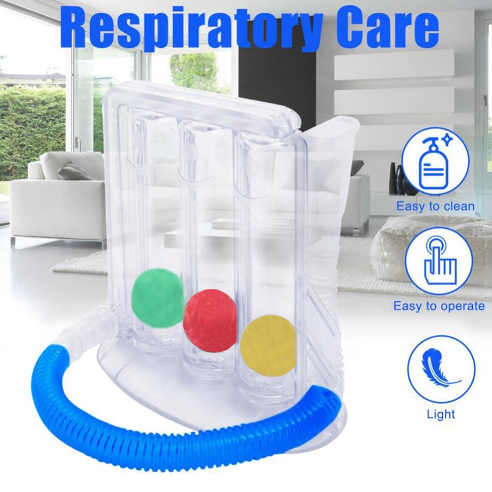 3 Balls Deep Breathing Exerciser Lung Function Improvement Deep Breath Trainer Incentive Spirometry Device Breath Measurement