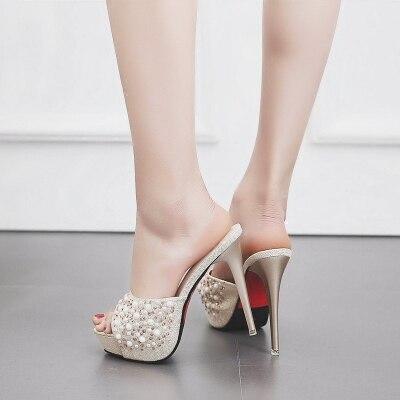 Женские шлепанцы, Летние Элегантные шлепанцы с открытым носком и жемчугом, на высоком каблуке 12,5 см, женские туфли-лодочки, стразы, уличные т...
