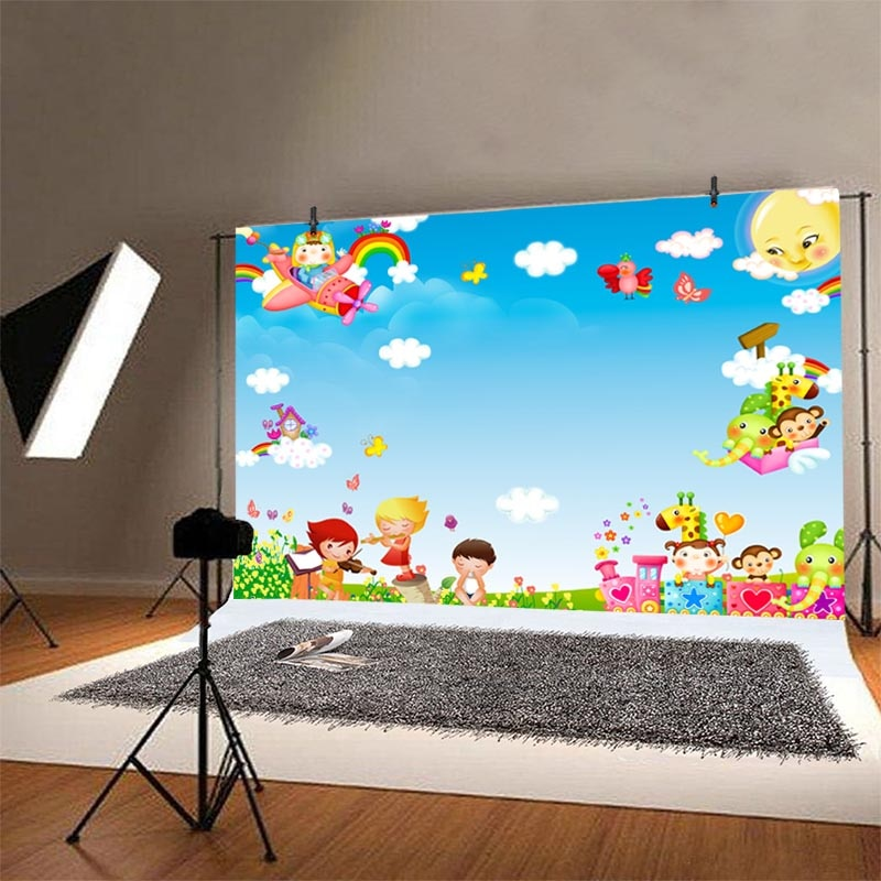 Spring 1st Birthday Photography Backdrop Airplane Animal White Cloud Baby Shower Party Custom Photo Background Banner Decoration enlarge