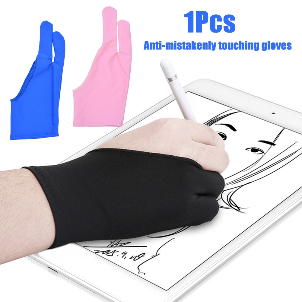 1Pcs Polyester Anti-Fouling Two Finger Glove for Artist Drawing Pen Graphic Tablet Pad