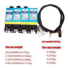 0.5W 1W 2.5W 3.5W 5.5W 7W 10W 15W diode laser module TTL PMW mélange contrôle 405NM 450NM bleu violet laser avec des fils de lunettes