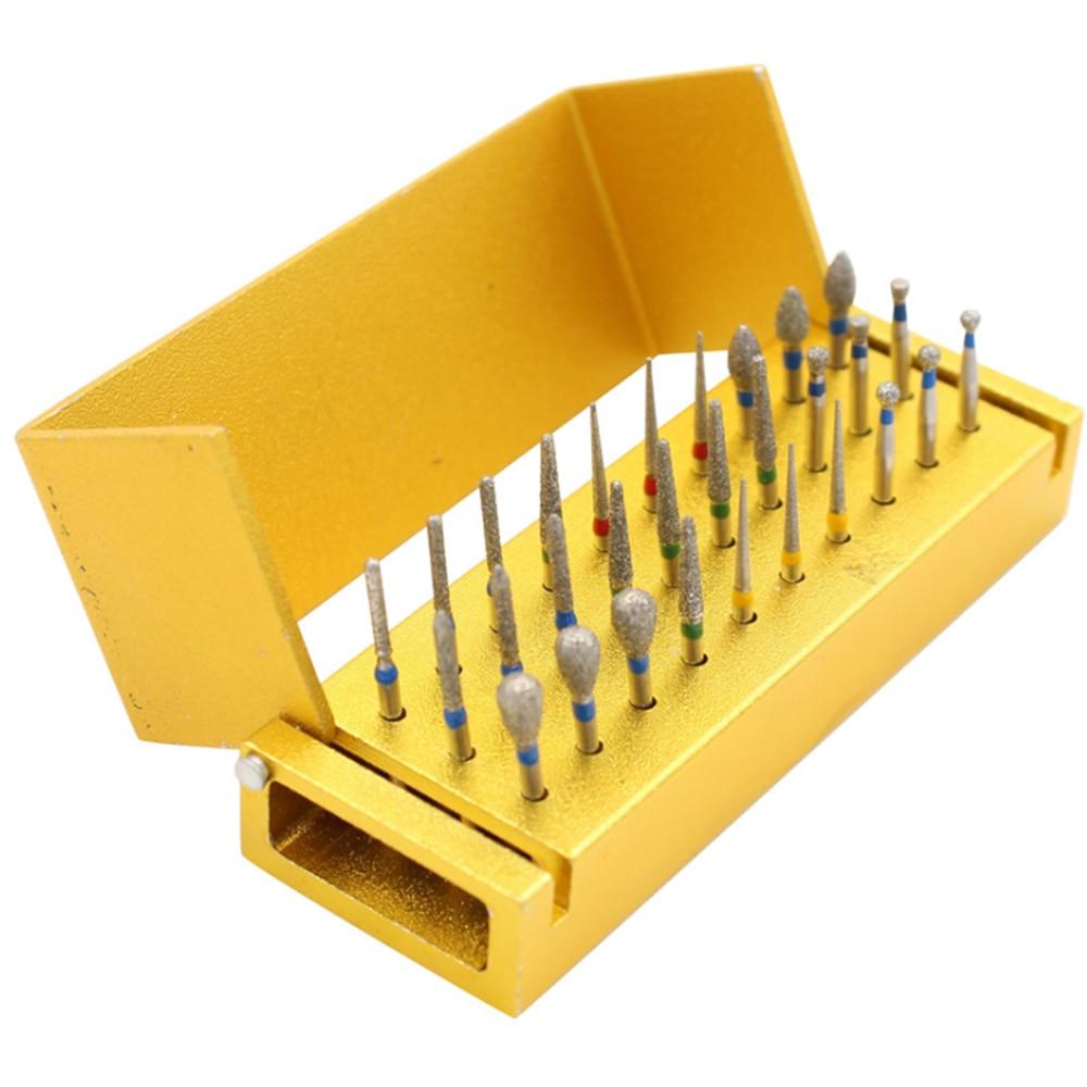 30 Pcs/Set Dental Diamond Burs Drill Disinfection+Block High Speed Handpiece Holder Alumimum Instrument For Teeth Whitening F25