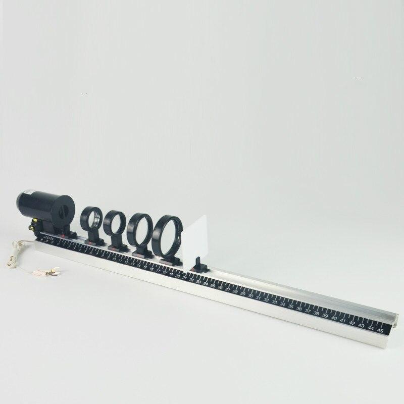 Conjunto completo banco óptico com câmera faixa física óptica lente convexa imagem física aparelho experimental