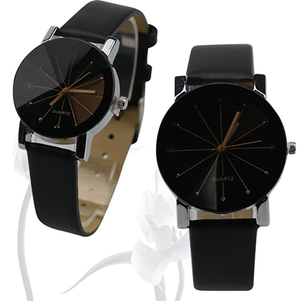 Men Women Fashion Alloy Faux Leather Watches Quartz Sports Dress Wrist Watch Couple Lover Watch