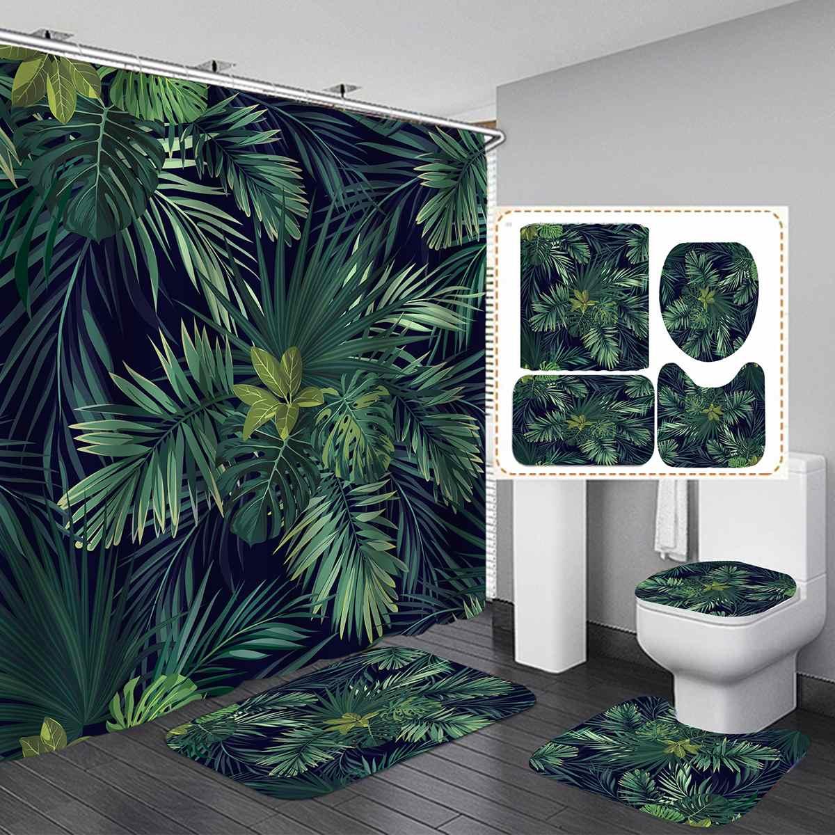 Green Tropical Plant Leaves Printed Curtain For Bathroom Shower Anti-slip Bath Mat Sets Toilet Cover Kitchen Carpet