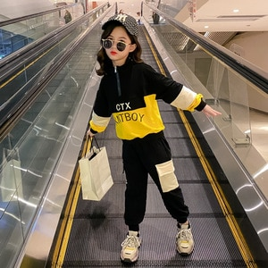 2020 winter Autumn Children kids Baby Boys Girls clothes Letter jacket + Pants  Toddler Tracksuit 4 5 6 7 8 9 10 11 12 year