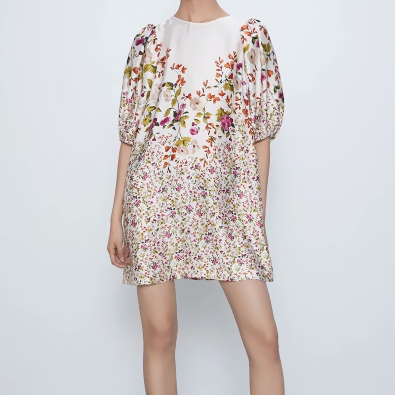ZA Flowers Summer Dress Women 2020 Puff Short Sleeve Hidden Side Pockets Back Opening Female Elegant Print Mini Dresses Vestidos