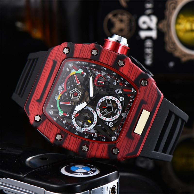 Relógios de Luxo Pulseira de Silicone Resistente à Água Relógio Masculino Qualidade Vermelho 6-pin Running Segundos Reloj Hombre Boa