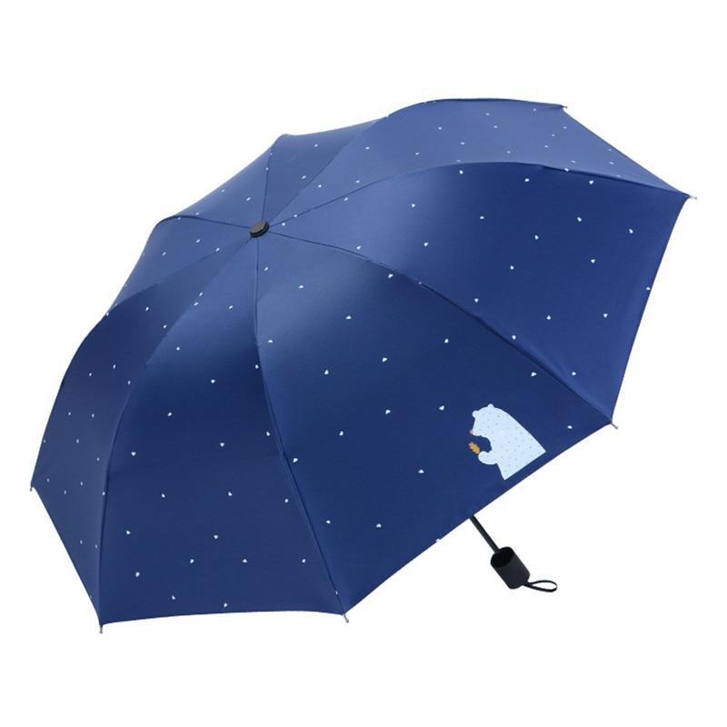 Bolso mini guarda-chuva chuva feminino à prova de vento durável 3 guarda-sóis de sol dobrável portátil protetor solar feminino guarda-chuva multicolorido