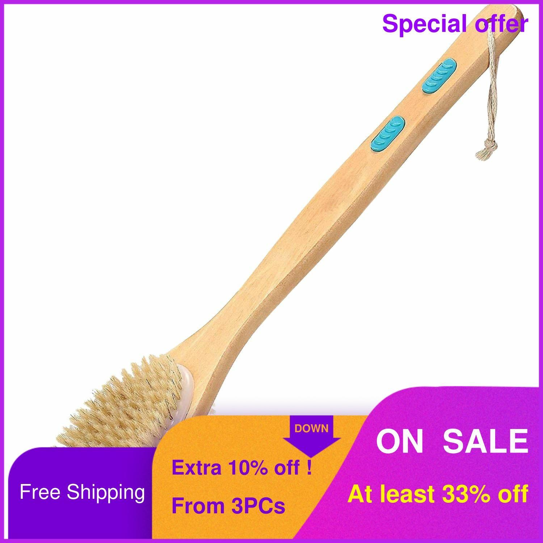 DREWTI Body Scrubber Bath Brush Wooden Long Handled Body Scrubber Exfoliating Scrub Double-sided Wild Boar Bristles Bathing Tool