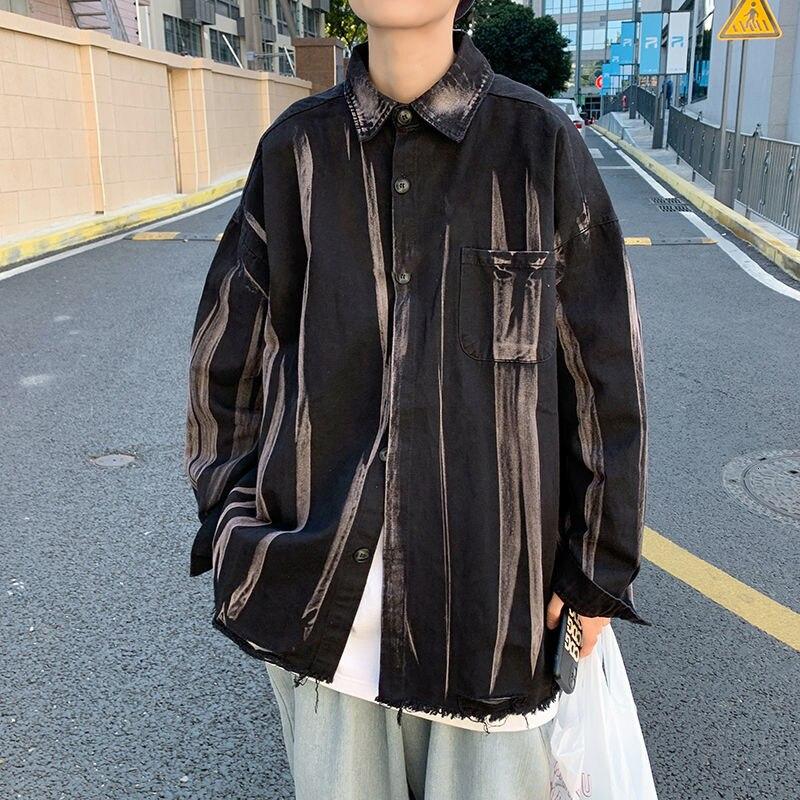 Осенние мужские рубашки с принтом в виде краски, корейские повседневные рубашки, мужские Модные свободные рубашки, Мужская Уличная одежда, ...