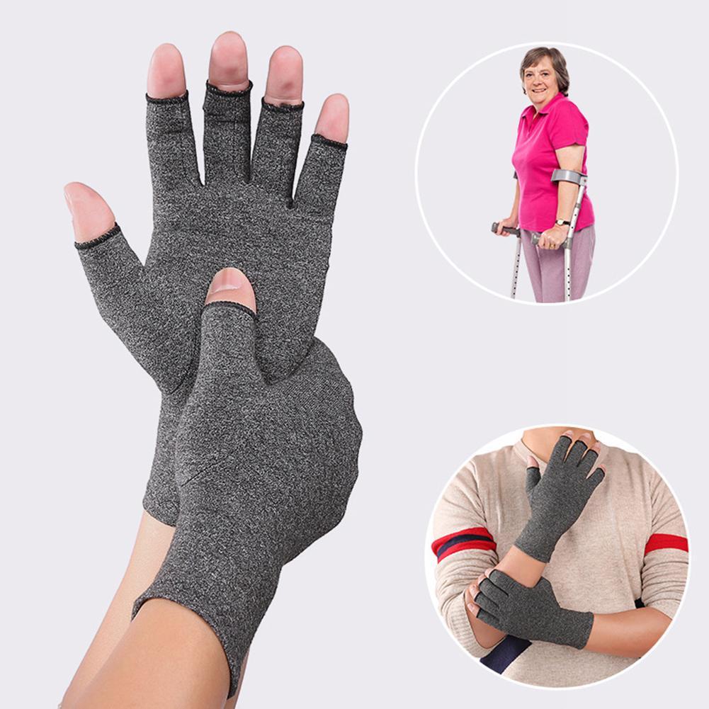 Открытый палец артрит компрессионные перчатки запястье руки боли в суставах, Поддержка