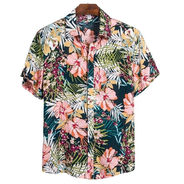 Мужская пляжная рубашка на пуговицах, Повседневная летняя гавайская рубашка с коротким рукавом и цветочным принтом, лидер продаж 2021