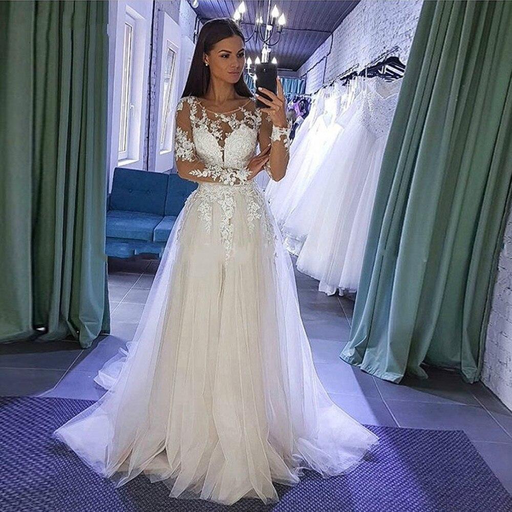 Vestidos De novia bohemia De manga larga, apliques De encaje, vestidos De...
