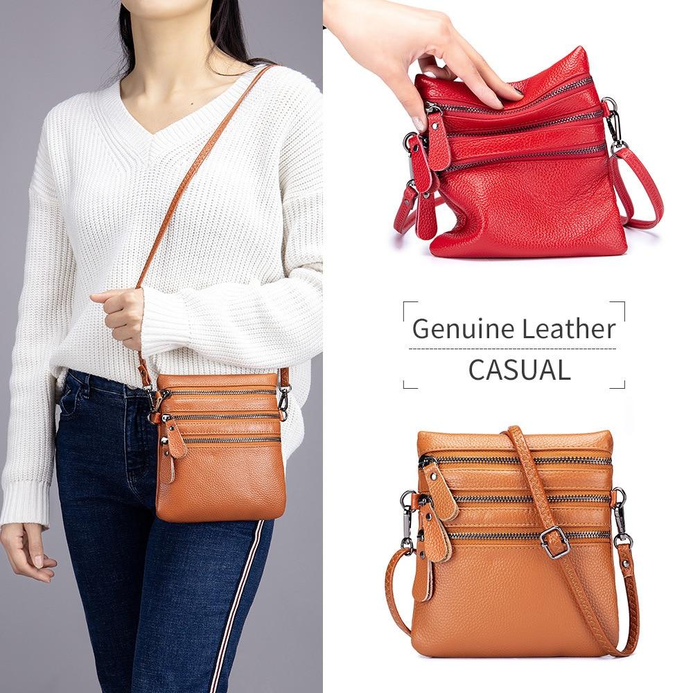 Patrón Lichee, primera capa de cuero de vaca, Mini bolsa nueva para mujeres, cremalleras multicapas, bolso de hombro, bolso de cuero genuino suave, paquete de teléfono