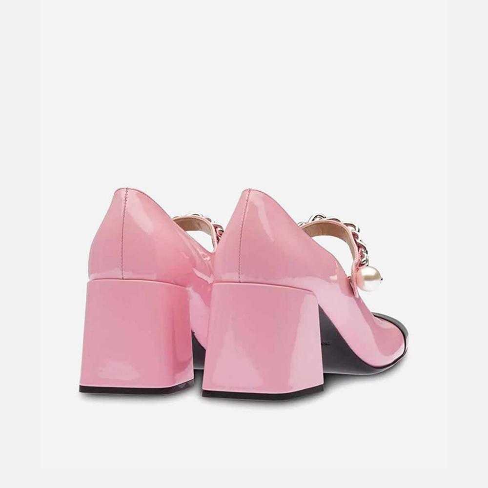 MUMANI امرأة 2021Hot جديد ماري جينس أحذية جلد طبيعي كعب مربع جولة تو مضخات الضحلة اللؤلؤ مشبك حزام سيدة الأحذية