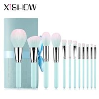 xishow professinal makeup brushes set powder highlight blush brushes light blue wooden handle eyeshadow concealer lip brush
