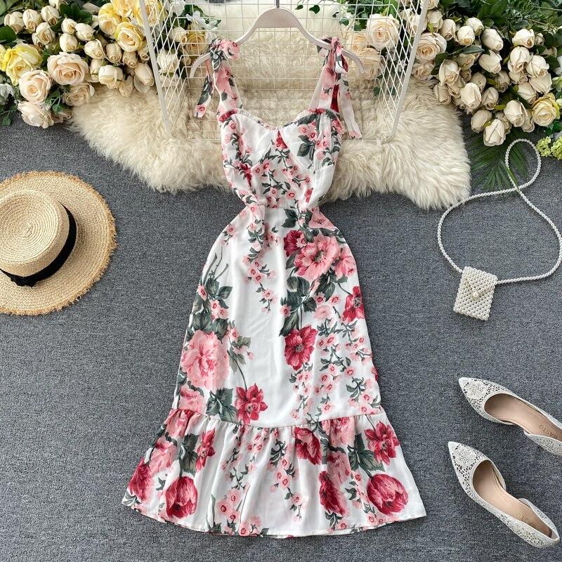 En mousseline de soie Imprimé Floral Robe 2020 Été Nouvelles Femmes Mode V-cou Sangle Licol Taille Haute Mince Sans Manches Vestidos L941