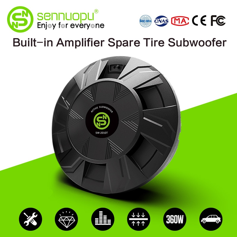 Sennuopu Car Subwoofer Class AB Power Amplifier Bass Speakers Aluminum Box Active Sub Woofer Install on Spare Tire Audio System