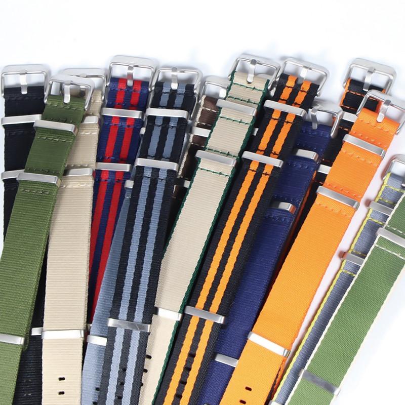 Premium Quality Herringbone 20mm 22mm Seatbelt Watch Band Nylon Nato Strap For 007 James Bond Military Striped Replacement Watch
