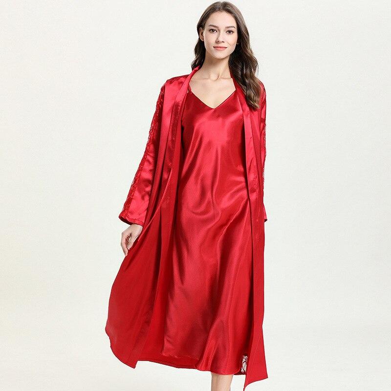المرأة Homewear السيدات باس النوم تقليد الحرير حمالة تنورة رداء اثنين قطعة مثير ثوب النوم البشكير ملابس خاصة مجموعات رداء مجموعة