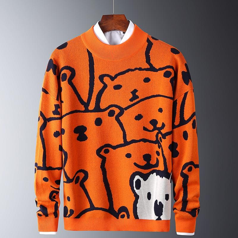 Мужские осенние Повседневные свитера с белым медведем, модные облегающие свитера, хлопковые мужские теплые пуловеры с длинным рукавом и кр...