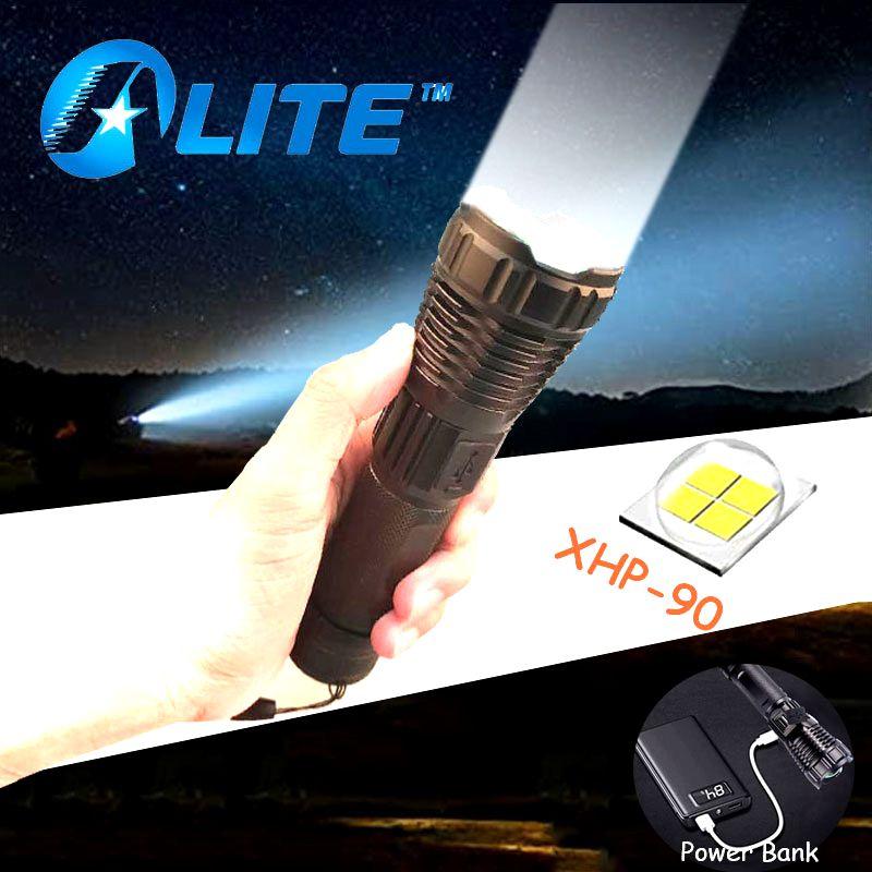 Xhp90 poderoso led lanterna zoom usb recarregável tipo-c interface power bank 26650 handheld luz da tocha para acampamento ao ar livre