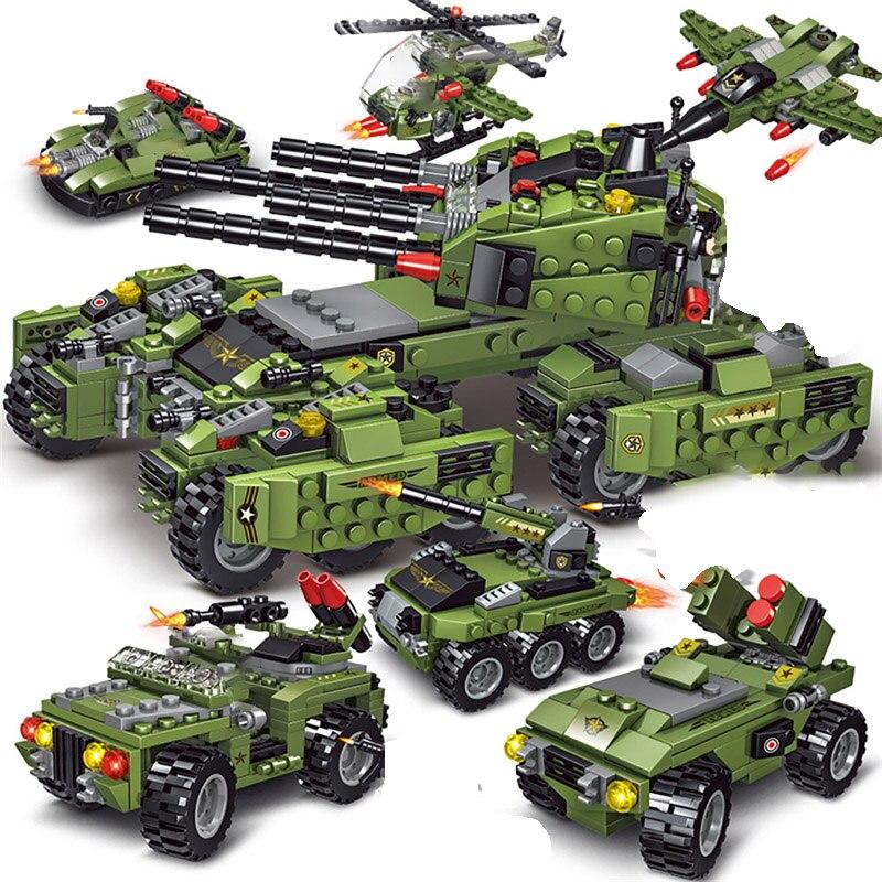 710 намоток Tank строительные блоки автомобиля самолета, Детские кубики, игрушки для мальчиков Фигурки Обучающие Конструкторы Военная Совмест...