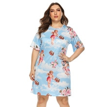 Summer Women Plus Size Angel Printting Dresses Casual Short Sleeve Housedresses Loose Vestidos Mujer