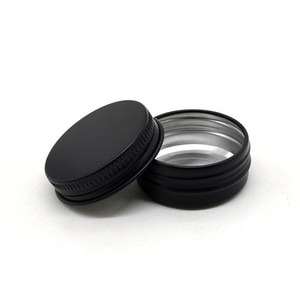 200pcs 15g Cosmetic Container 15ml Black Aluminum Pot Jar With Lid Eye Cream Hair Conditioner Tin Jar Pot Cosmetic Metal Pot