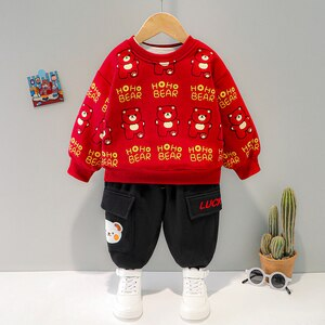 Baby Boys Girls Clothes Two Piece Set Autumn Plus Fleece Pullover Top + Pants Cartoon Bear Long Sleeve Cute and Warm Winter Suit