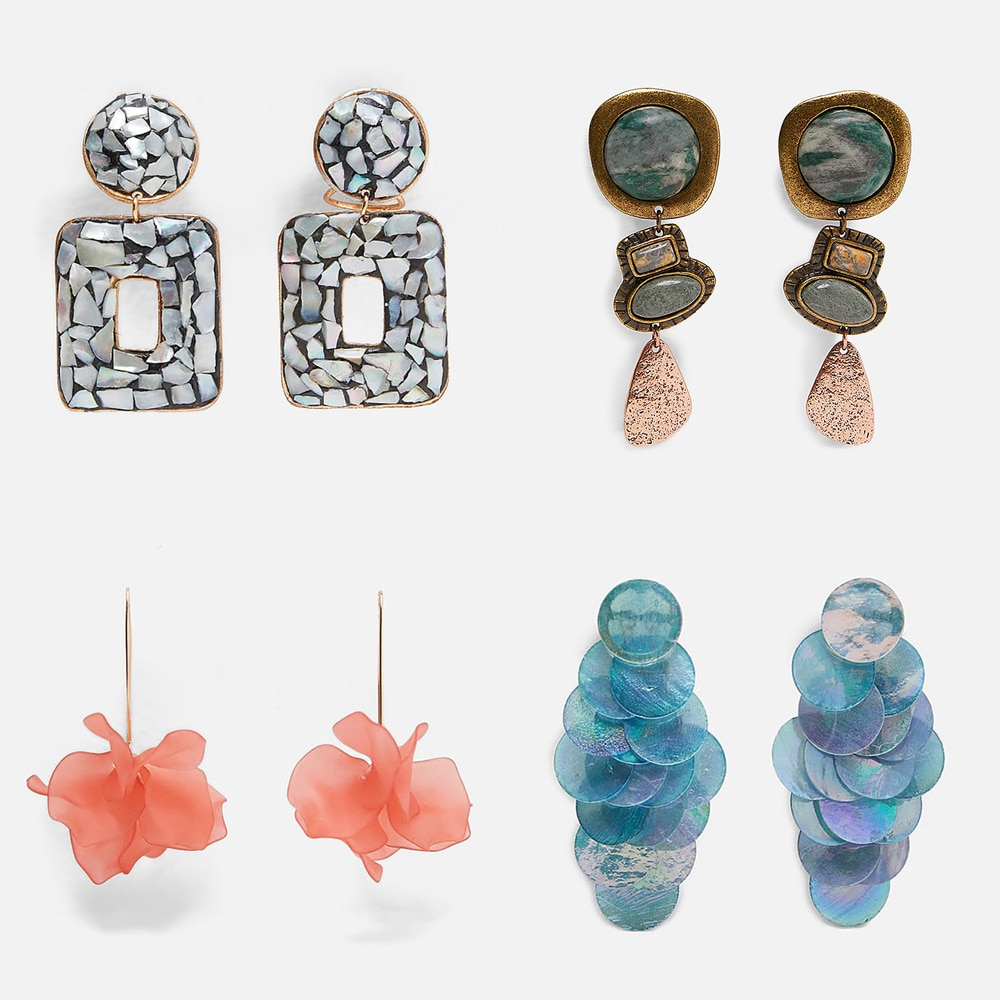 Best lady 2019 New Bohemian Resin Stone Za Earrings for Women Elegant Simulated Pearl Wedding Jewelry Hanging Drop Earings Party
