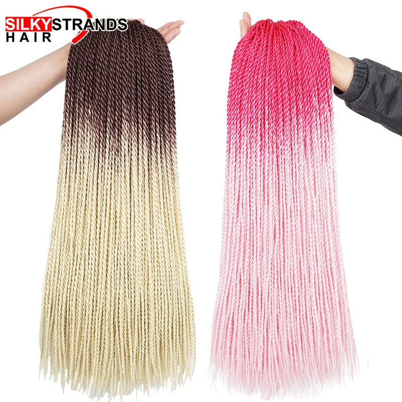 24 אינץ Afro Ombre Senegalese טוויסט סרוג שיער kanekalon קולע שיער מראש נמתח סינתטיות עבור צמות