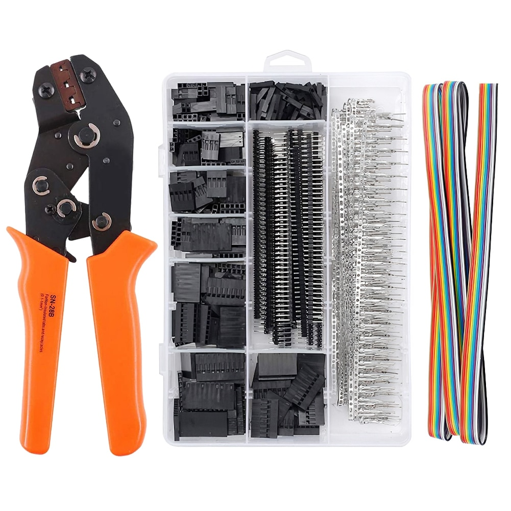 crimping tool set crimp tools wire crimping tool kit ferrule crimping plier tools 1200pcs wire ferrule terminals kit 0 25 10mm² 1550Pcs+SN-28B Dupont Crimping Tool Pliers Wired Terminal Connector Ferrule Crimper Wire Hand Tool Set Terminals Clamp Kit Tools