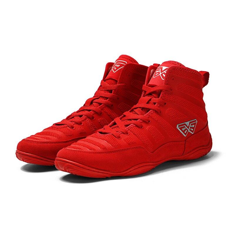 Профессиональная Обувь для борьбы USHINE для мужчин, тренировочная обувь для сухожилий на конце, кожаные кроссовки, нескользящая обувь для бокса