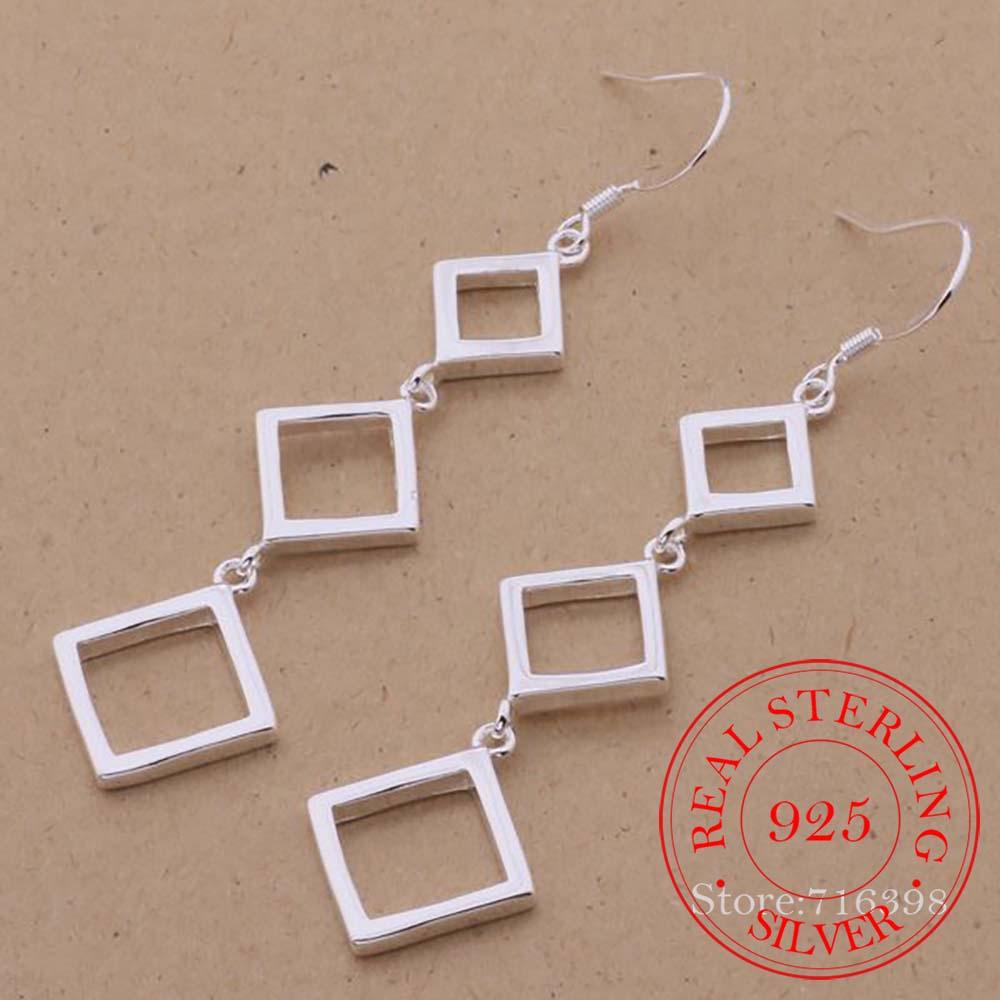 100% Real 925 Sterling Silver Earring Korean Three Squares Drop Dangle Earrings for Women 2020 Weddi