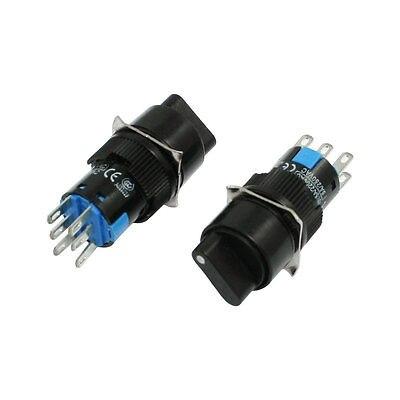2 uds. Interruptor de botón redondo 2NO 2NC DPDT rotatorio interruptor de botón AC 250V 5A LA16-11X2 AB6Y-M 16mm