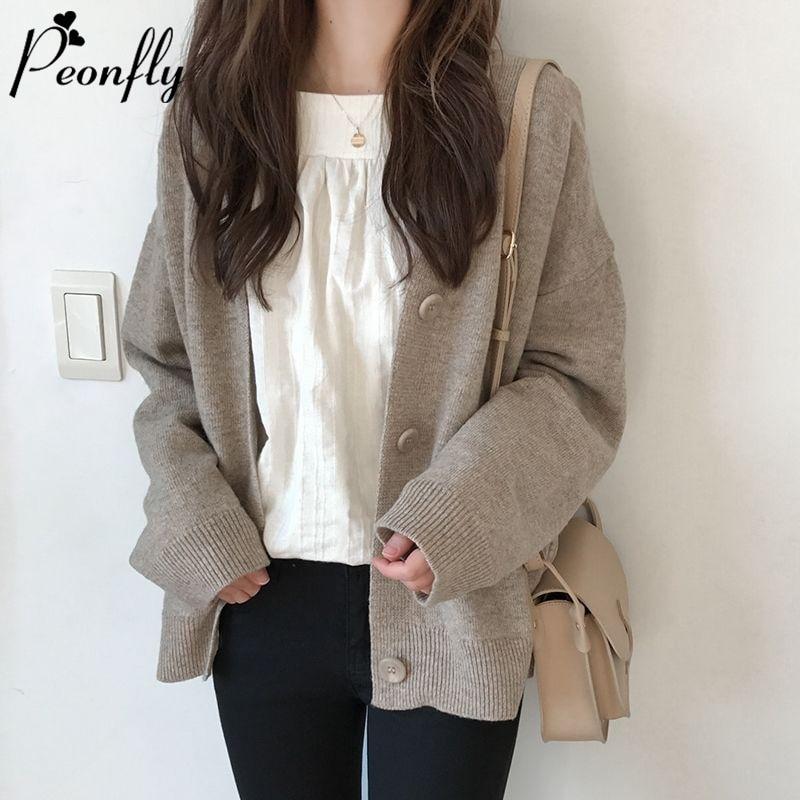 PEONFLY Mode Strickjacke Frauen Mantel Solide 2020 Spring Fashion V-ausschnitt Lange Ärmel Koreanischen Stil Pullover Mantel Tops Damen