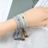 woven braided friendship bracelets adjustable braided lover heart embroidery tassel bracelet men women jewelry gift to friends