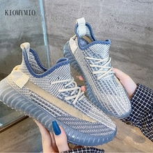 Lace-Up Flying Knitting Shoes For Lovers Leisure Breathable Deodorant Coconut Shoes 2021  All-match