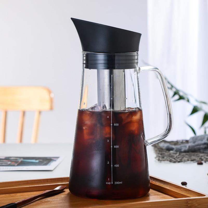 غلاية قهوة زجاجية مع فلتر الفولاذ المقاوم للصدأ بالتنقيط تختمر إبريق قهوة البيرة الساخن المنقط باريستا صب أكثر من صانع القهوة