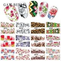 gam belle 12pcs 2020 colorful mixed blossomed flower nail art sticker tips water decals manicure full slider